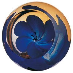 Caithness glass blue-anemone paperweight