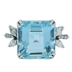 7.00 Carat Aquamarine Diamond White Gold Ring | From a unique collection of vintage fashion-rings at https://www.1stdibs.com/jewelry/rings/fashion-rings/