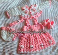 Baby Crochet Patterns Baby Dress Pattern by CutenCuddlyOutfits Crochet Baby Dress Pattern, Crochet Baby Clothes, Crochet Shoes, Crochet Cardigan, Crochet Patterns, Flower Crochet, Baby Set, Crochet Girls, Crochet For Kids
