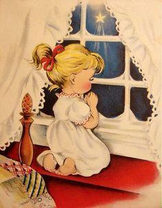 Vintage Christmas card ~ Wish Upon a Star Vintage Christmas Images, Old Fashioned Christmas, Christmas Scenes, Christmas Past, Retro Christmas, Vintage Holiday, Christmas Pictures, Christmas Prayer, Father Christmas