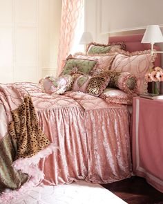 Little Girl's Bedroom Dian Austin Couture Home Penthouse Suite Bedding Bedroom Bed, Girls Bedroom, Bedroom Decor, Bedroom Stuff, Bedroom Ideas, Bedding Decor, Chic Bedding, Bedroom Colors, Girl Room