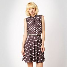 Red Herring Taupe polka dot shirt dress- at Debenhams.com