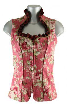 Wunderschönes, neu designtes Stehkragen Baumwollmieder von Ellersdorfer Design in rosa Farbton mit floralem Blumenmuster. Dieses edle Mieder besticht durch Eleganz und Schlichtheit. Das Mieder ist vorne mit einem Reißverschluss zu schliessen [Unser Preis: 198,00€]