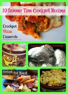 10 Summer Time Crockpot Recipes  This list can be made one after the other for 10 days of planned crockpot meals!  Complete these with rice in rice cooker or potatoes or pasta!