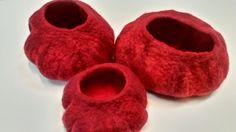 Set of 3 Red Sky hand formed decorative felt pod £52.00