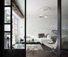 Barcelona Chair - Ludwig Mies van der Rohe - 1929, white wall bricks, wood, door glass