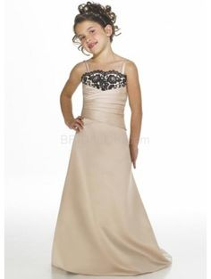 Stunning Champagne Satin Thin Shoulder Straps Floor Length Junior Bridesmaid Dress