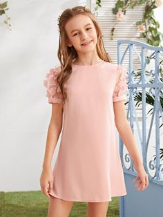 To find out about the Girls Appliques Mesh Sleeve Dress at SHEIN, part of our latest Girls Dresses ready to shop online today! Cute Little Girls Outfits, Kids Outfits Girls, Little Girl Dresses, Cute Casual Outfits, Preteen Girls Fashion, Girls Fashion Clothes, Girl Fashion, Fashion Outfits, Girls Short Dresses