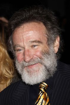 Robin Williams in very close-up, with a large gray beard. Someone please cast this man as Santa Claus right now. He'd be perfect.