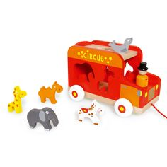 Traditional Wooden Toys: Circus Truck Shape Sorter