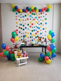 Festa Patati e Patatá Bouncy Ball Birthday, Lego Birthday Party, Carnival Birthday Parties, Birthday Room Decorations, Birthday Backdrop, Birthday Party Decorations, Birthday Party Design, Colorful Birthday Party, Baby