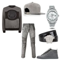 Untitled #61 by losdollas on Polyvore featuring polyvore, Balmain, Versace, Balenciaga, JUST DON, Rolex, men's fashion, menswear and clothing