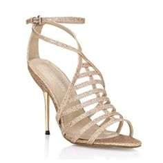 ffe93ec23a5 Amazon.com  Glitter Gladiator Dress Sandal Pumps Women Shiny Golden Comfy  Stiletto Sandals Strap