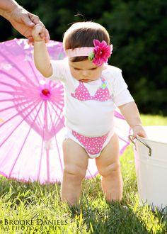 Pink White Polka dot Bikini Onesie by TheHappyCowCompany on Etsy $18  Cute!