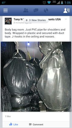 Nice! Haunted Trail Ideas, Haunted Forest, Pvc Pipe, Body Bag, Drawstring Backpack, House Ideas, Halloween, Nice, Bags