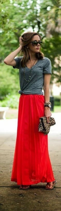 love the maxi.  It's not hip-hugging like I see so often & appears to be something different than the typical t-shirt cotton.  The casual cool of the whole outfit is perfect for summer and for work.  Love the hibiscus color of the skirt.