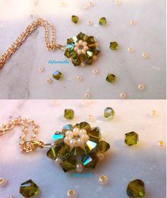 Collana verde ciondolo swarovski, gioielli per lei, regalo di Natale, regalo per lei, handmade, unica, anniversario, compleanno, nichel free di ElefantinoBlu su Etsy