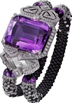 High Jewelry watches created by Cartier. Brought to life by circles, lozenges and squares, and set with the most precious stones, the graphic and harmonious lines of Cartier High Jewelry watches create extravagant perspectives. The Purple, All Things Purple, Shades Of Purple, Purple Style, Magenta, Purple Rings, Purple Jewelry, Amethyst Jewelry, Bling Jewelry
