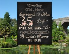 Bridal Shower Countdown Sign, Days Until she's Mrs Sign, Countdown Bridal shower, Chalkboard and Blush Bridal Shower Sign, Printable, BSWS10 by OccasionHouse on Etsy