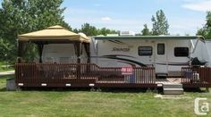 campsite ideas 17 Best images about rv deck ideas Camping Glamping, Outdoor Camping, Camping Ideas, Camping Stuff, Rv Living, Outdoor Living, Caravan Living, Outdoor Patios, Rv Shelter