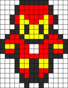 Iron Man Perler Bead Pattern | Bead Sprites | Characters Fuse Bead Patterns