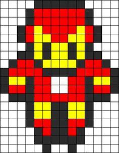 Iron Man Perler Bead Pattern | Bead Sprites | Characters Fuse Bead Patterns