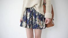 Blue bottoming elastic waist short mini floral pleated skirt girly cute retro vintage dress on Etsy, $20.77