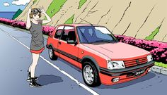 Kai Fine Art is an art website, shows painting and illustration works all over the world. Peugeot 205 Gti, Girls Driving, Car Drawings, Manga Illustration, Tumblr, Used Cars, New Art, Comic Art, Classic Cars