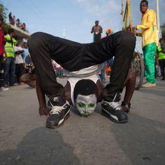 L'esibizione di un mimo. Carnevale di #Haiti