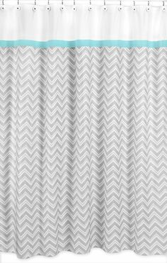 Turquoise and Gray Chevron Zig Zag Kids Bathroom Fabric Bath Shower Curtain by Sweet Jojo Designs - Click to enlarge