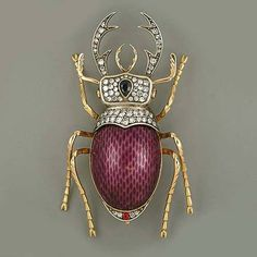 Enameled Beetle pin w/Diamonds