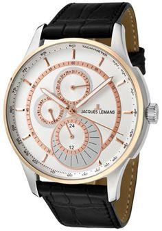 JACQUES LEMANS 1689C Men's London White Dial Black Leather Watch  http://www.originalwatchstore.com/brand/jacques-lemans/