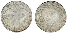 8 SILVER REALES/PLATA. REPÚBLICA DE NUEVA GRANADA. 1843 RS. FINE/BC+.INTERESANTE