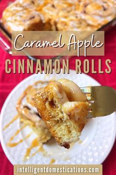 Caramel Iced Apple Cinnamon Rolls Easy Recipe. It's a cheat recipe so it's ready fast super easy to make with only a few ingredients. A good dessert to take to a potluck or family gathering. #appledessert Apple Cinnamon Rolls, Cinnamon Apples, Dessert Recipes, Apple Desserts, Candy Recipes, Pie Recipes, Fun Desserts, Cookie Recipes, Caramel Apples