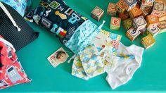 Emergency Diaper Bag Retro Geek Blue Mustache by WhoopsieKit