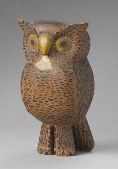1820-1870  Pennsylvania Painted pine owl