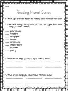 FREE Reading Interest Survey to get to know new students   For the ...