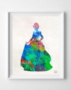 Cinderella Disney Watercolor Print Nursery Baby by InkistPrints