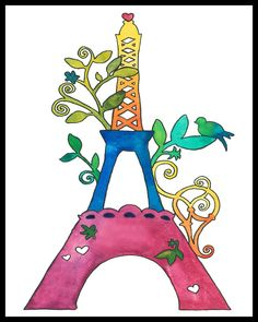 PRINT La Tour Eiffel by GoodnightSquirrel on Etsy
