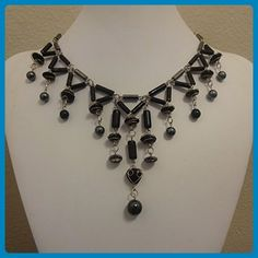 Hematite & Black Wire Wrapped Bead Cascading Bib Statement Necklace - Wedding nacklaces (*Amazon Partner-Link)