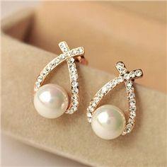 Pretty Pearl Flash Diamond Earrings
