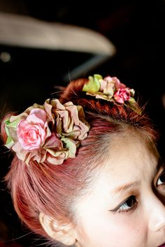 modern day goddess's summer pink floral hair style