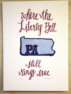 Pennsylvania State Series-Letterpress Print. $16.00, via Etsy.