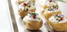Crispy Baby Potato Bites With Sour Cream And Bacon #bySandraLee