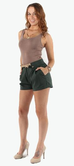 Green with Envy Short with Bow-tie Belt