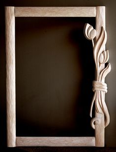 Wood carving mirror frame by Athanasia Pastrikou Ξυλόγλυπτος καθρέφτης Wood Carving Patterns, Wood Carving Art, Carving Designs, Wooden Art, Wooden Crafts, 3d Laser Printer, Whittling Wood, Picture On Wood, Picture Frame