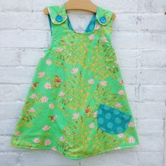 Kids Wear - As the Crow Flies & Co - Pinafore dress with a flannel back, heather ross fabric