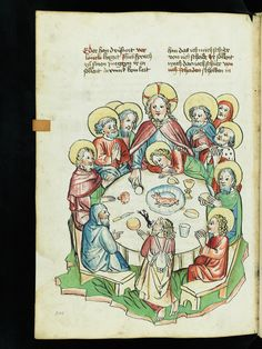 "Representation of ""The Last Supper"" in a 15th century manuscript by Virtual Manuscript Library of Switzerland"