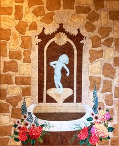 Venus Kalipygos in new surroundings. A famous Danish figurine placed in a mexican wall fountain. My own design. Applique, quilted, colour pencils.