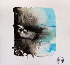 Pablo S. Herrero, Tintas y barro blanco sobre papel de algodón hecho a mano. 25 x 25 cm